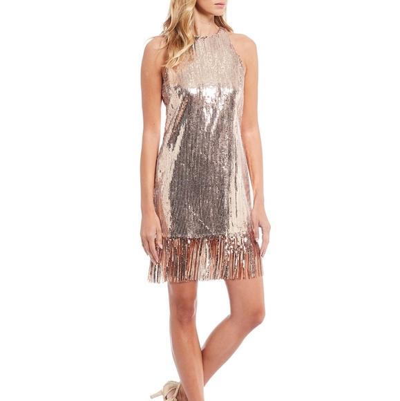 Alex Marie Dresses Alex Marie Rose Gold Sequin Fringe Gatsby Dress Poshmark